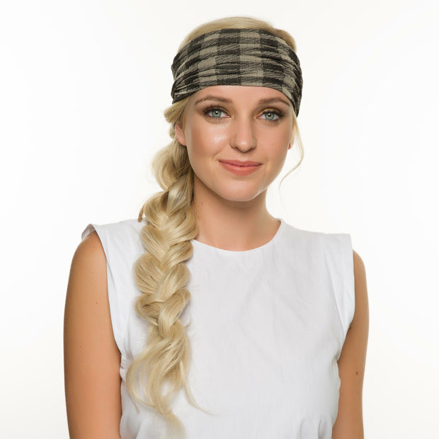 Rue - Wide Black Taupe Checker Sports Wrap / Face Scarf (#33) 1