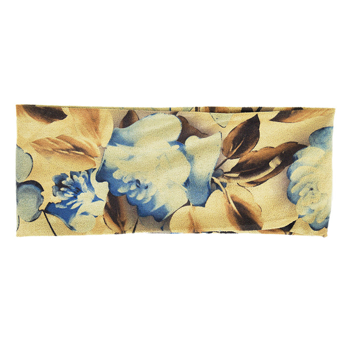 Kippy - Microfiber Sports Headwrap (Floral Blue/Brown)