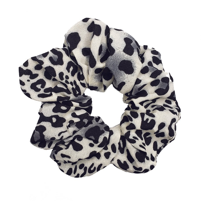 Untamed Large Chiffon Scrunchie (White Leopard)