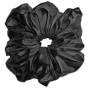 "Faux Leather ""Oversized"" Plush Scrunchie (Midnight Oil)"