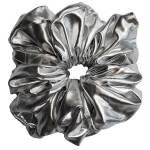 "Faux Leather ""Oversized"" Plush Scrunchie (Fab Silver)"