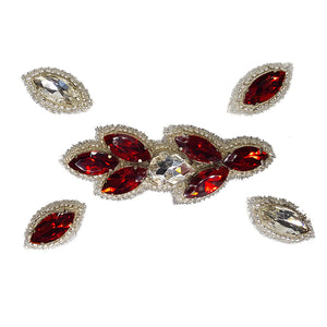 Naomi- Bandless, Clipless Jewels (Set of 5) - Red