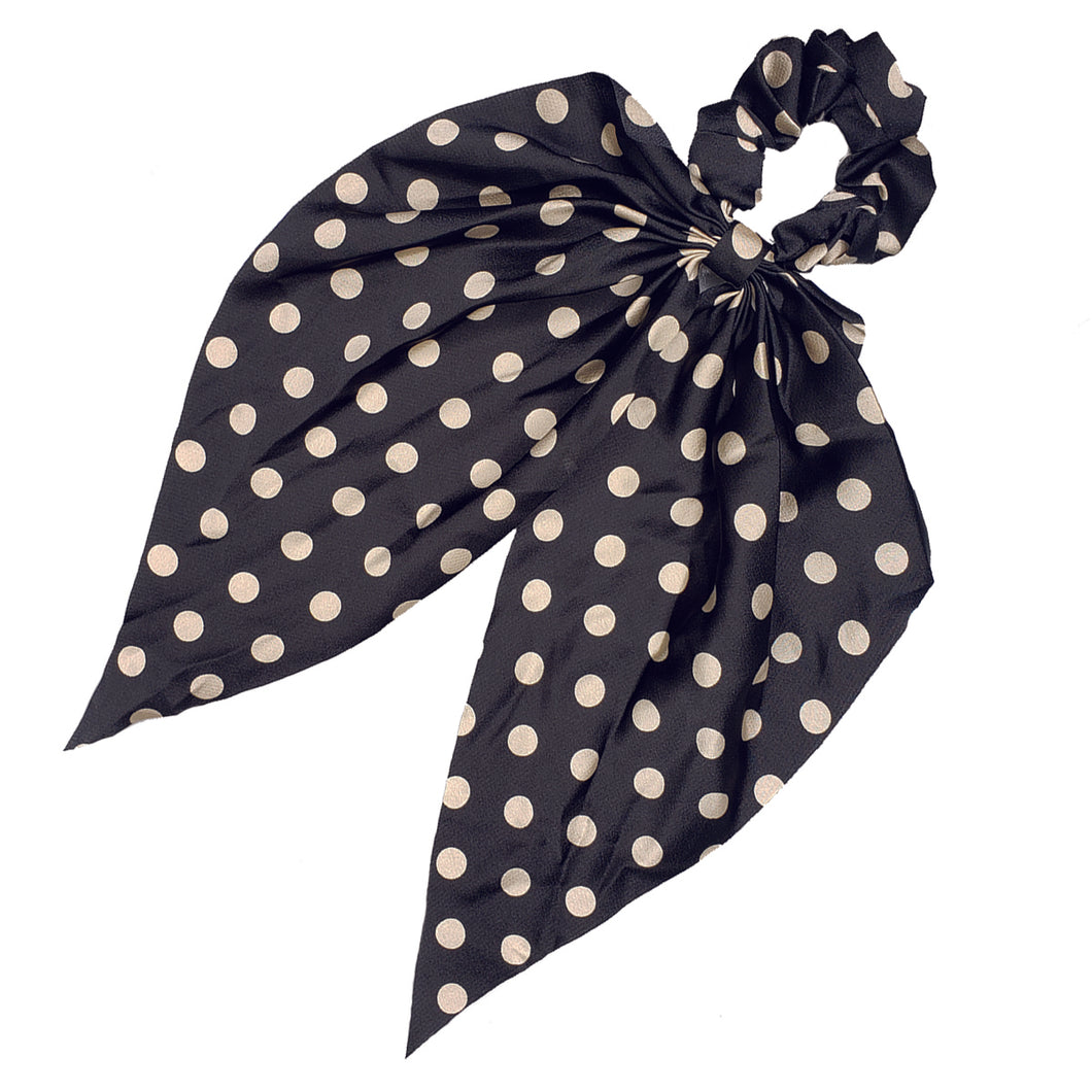 Sweet Sixteen Long Tail Silk Scrunchie (B/W Polka Dots)
