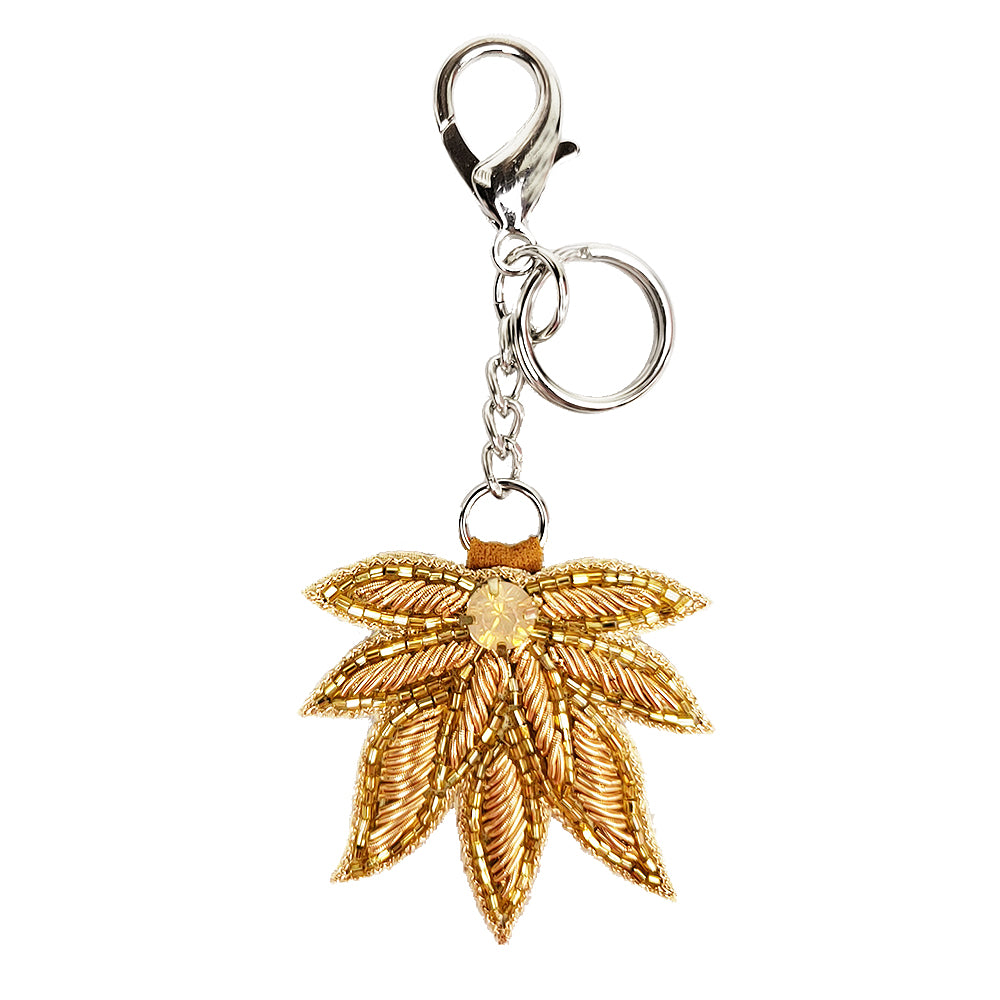 Embroidered Keychain Ornament with Clasp (Rose Gold Leaf)