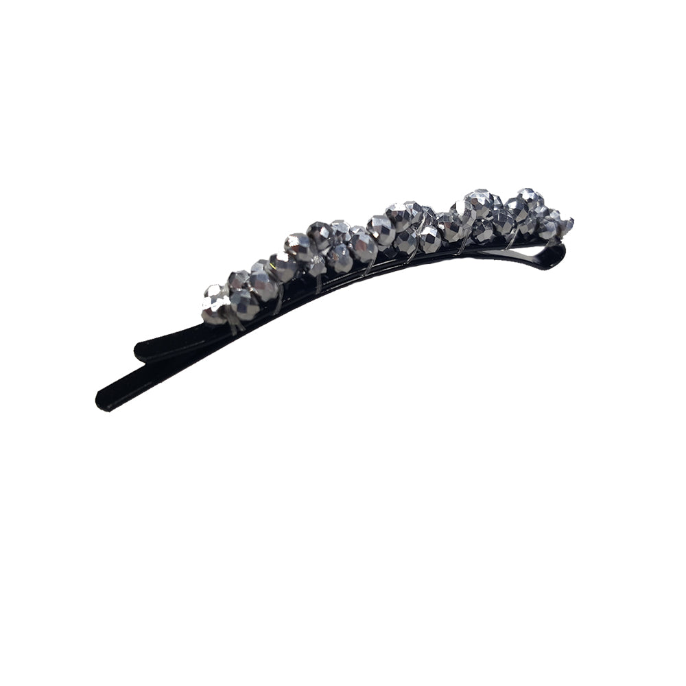 Bobbi - Beaded Rounded Bobby Pin (Silver)