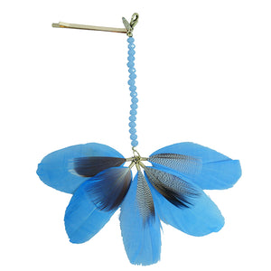 Tinley - Feather Bobby Pin With Beaded Strand (Blue)