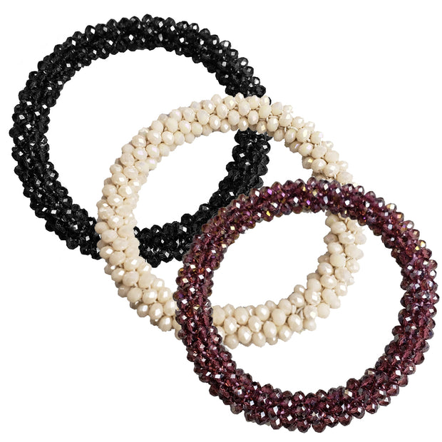 Luxe Webbed and Beaded Ponie Elastic Set (3pc) 1