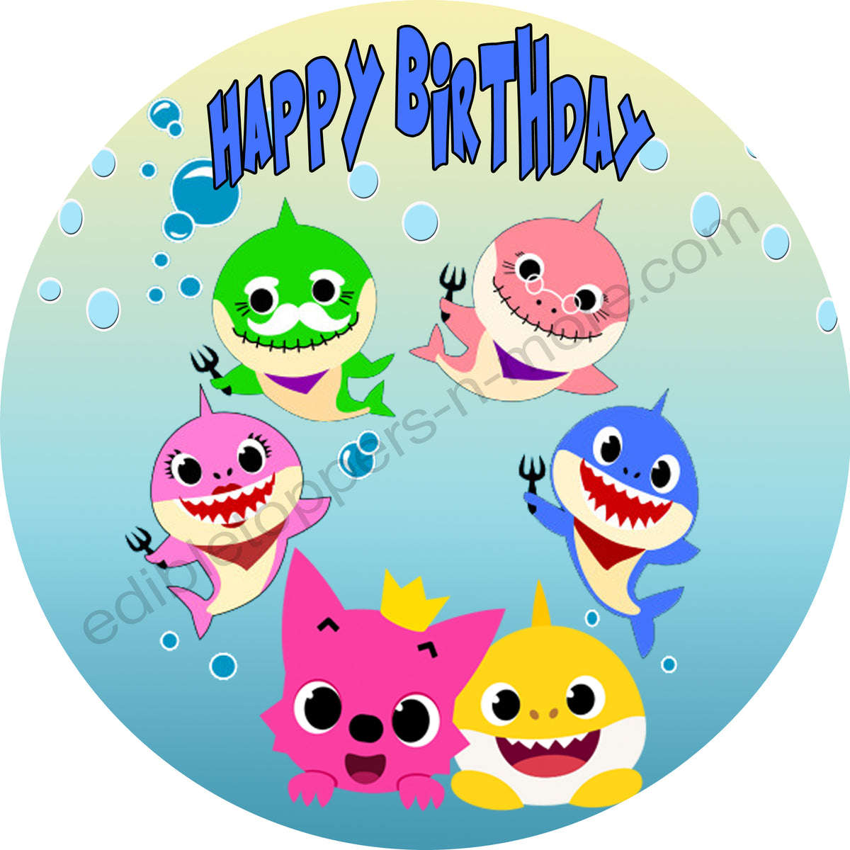 Baby Shark Personalized Edible Print Premium Cake Topper ...