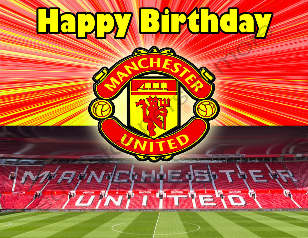 Manchester United Personalized Edible Print Premium Cake Topper Frosti Edible Toppers More