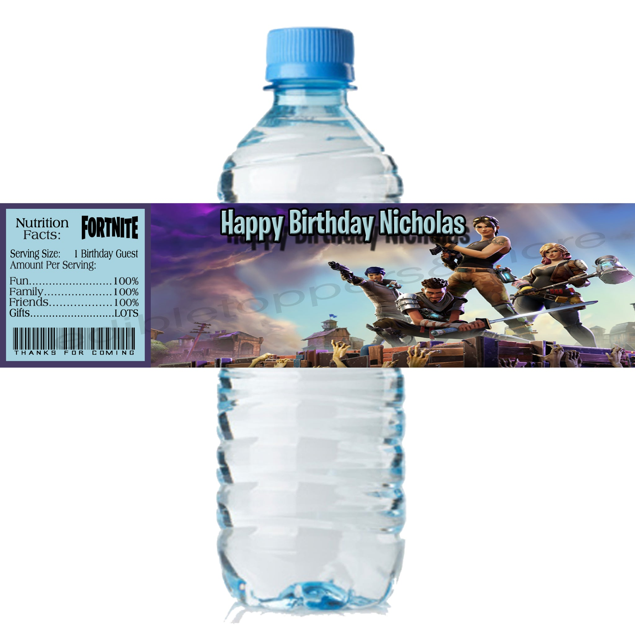(20) Personalized FORTNITE 2 x 8 Weatherproof Water Bottle Labels Party Favors