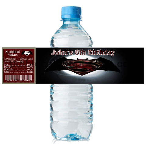 (20) Personalized BATMAN 2 x 8 Weatherproof Water Bottle Labels Party Favors