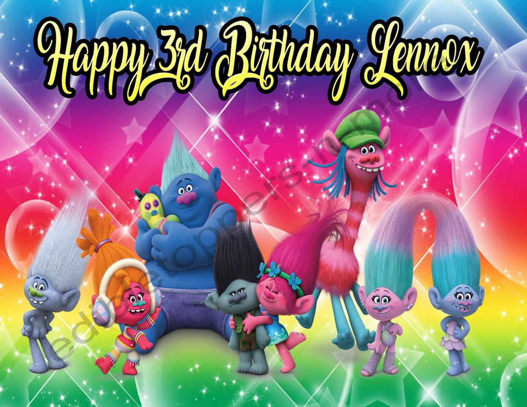- Trolls Personalized Edible Print Premium Cake Topper Frosting