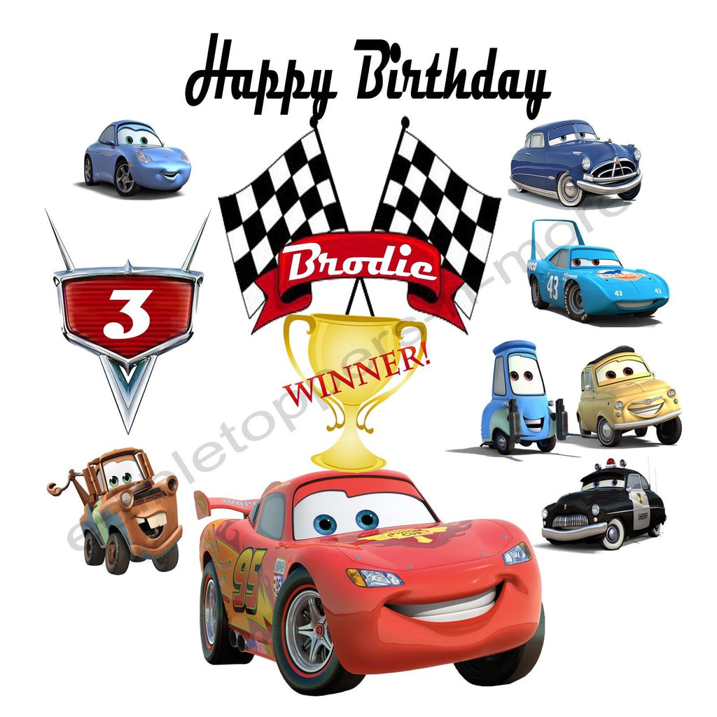 Disney S Cars Personalized Edible Print Premium Cake Topper Frosting S Edible Toppers More