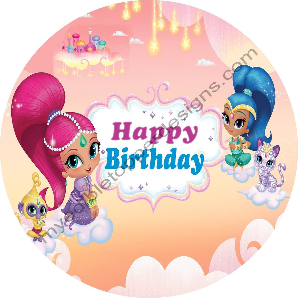 Shimmer Shine Personalized Edible Print Premium Cake Topper