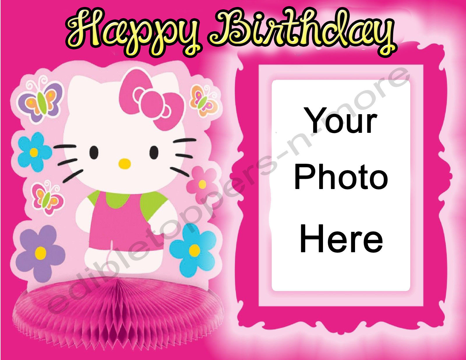 Hello Kitty Personalized Edible Print Premium Cake Topper Frosting Sheets 3 Sizes