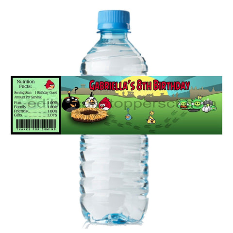 (20) Personalized ANGRY BIRDS 2 x 8 Weatherproof Water Bottle Labels Party Favors