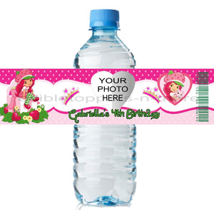 20 Personalized STRAWBERRY SHORTCAKE 2 X 8 Weatherproof Water Bottle Labels Party Favors