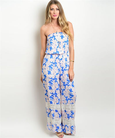 Blue Ivory Pink flower jumpsuit