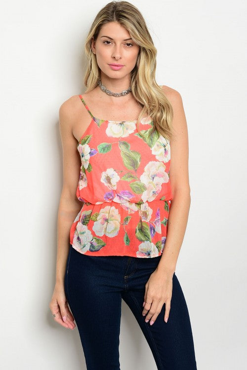 Coral with Flowers Top