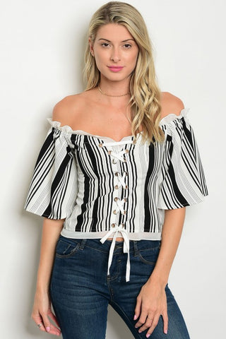 White and Black off shoulder Top