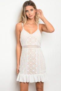 White Nude Crochet Dress