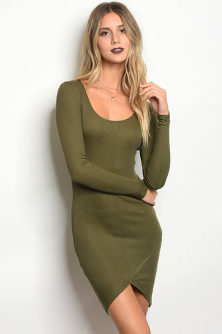 Olive Ribbed Dress