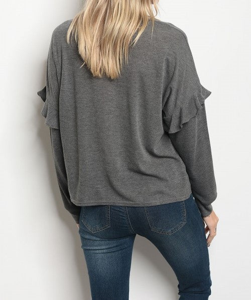 Charcoal Long sleeve sequins flower Top