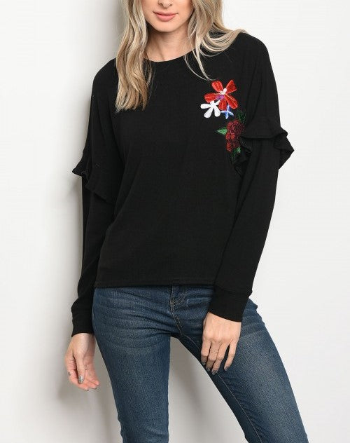 Long Sleeve with Flower Sequins Black Top