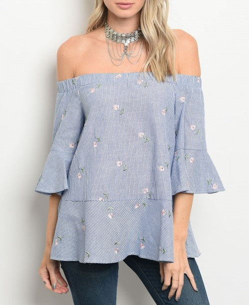 Blue white stripes with flowers off shoulder Top