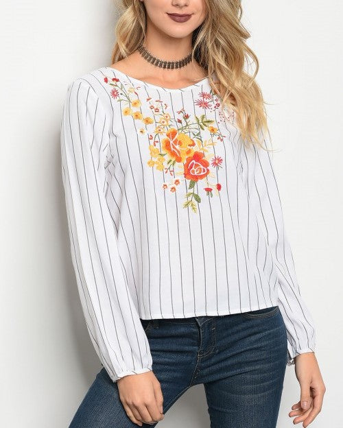 White Gray Stripes with Embroidery Flowers Top