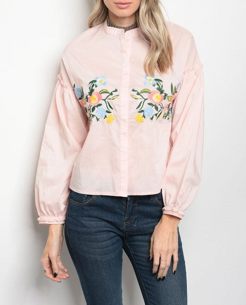 Pink Embroidery Flower Blouse