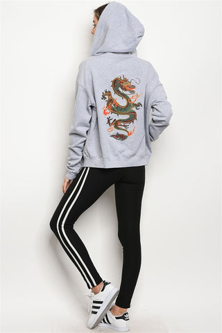 Gray Sweater with embroidery Dragon