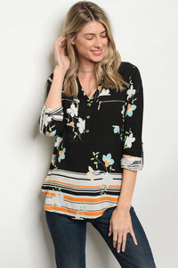 Black and Orange Floral Blouse