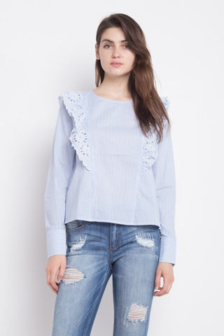 Embroidery Ruffle Long Sleeve Blouse