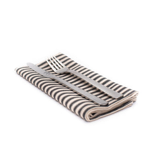 Striped Ticking Napkin Set - Black