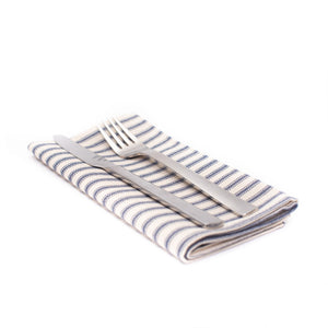 Striped Ticking Napkin Set - Blue