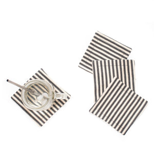 Striped Ticking Coaster Set (4) - Black