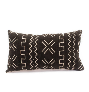 African Mudcloth Lumbar Pillow - Black