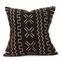 African Mudcloth Square Pillow Cover - Black