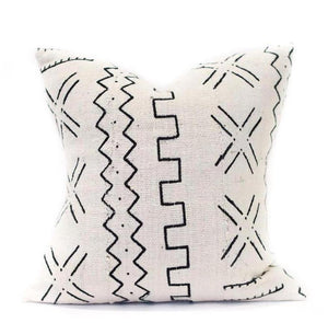 African Mudcloth Square Pillow Cover - White