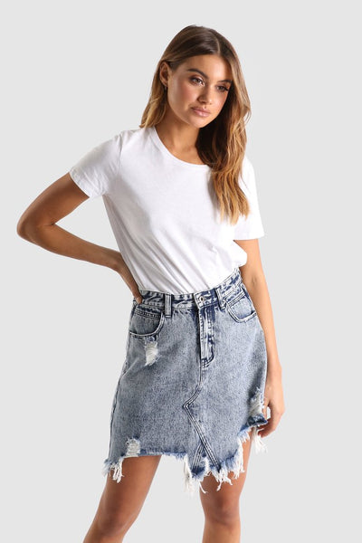 Jaymee Denim Skirt- Madison The label, skirt, Honey & Co Online Boutique, Honey & Co Online Boutique - Honey & Co Online Boutique