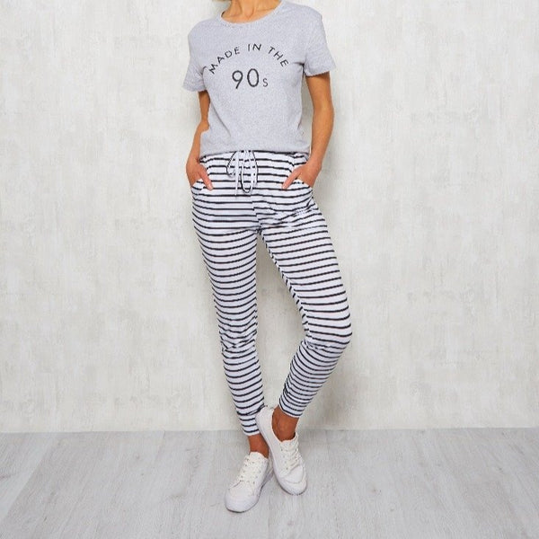 Stripe Joggers, pants, Honey & Co Online Boutique, Honey & Co Online Boutique - Honey & Co Online Boutique