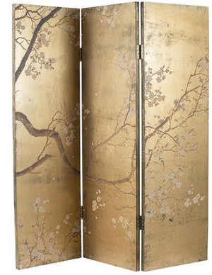 Cherry Blossom Gold Dressing Screen/Room Divider - decorstore