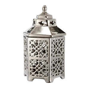 Pergoda Silver Ceramic Lantern Set of 2 - decorstore