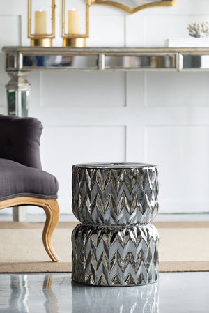 Metallic Grooved Foot Stool - decorstore