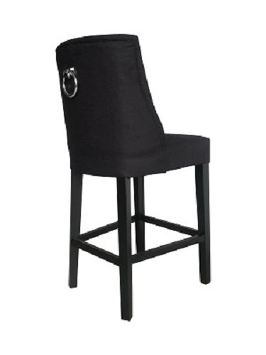 Ophelia Barstool Black With Chrome Ring - decorstore