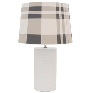 Channing Bedside Lamp w/Chequered Shade - decorstore