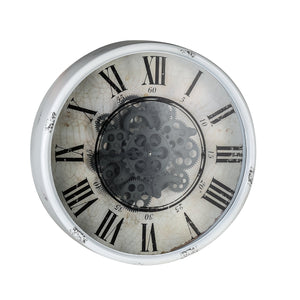 Round Mirror Wall Clock With Moving 3D Mechanism - decorstore