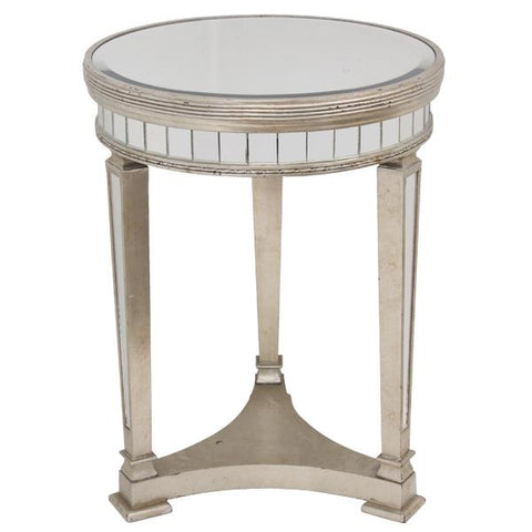 Mirrored Pedestal Round Side Table Antiqued Ribbed - decorstore