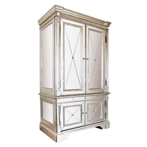 Mirrored Storage Cabinet Antique Ribbed - decorstore
